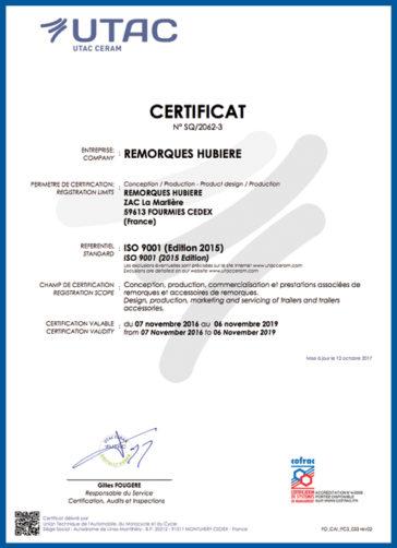 Certificat UTAC